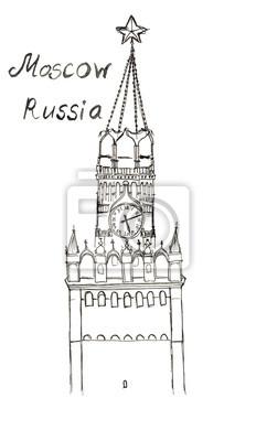 Sketch Russland Moskau Roten Platz Spasskaya Tower Schriftzug isoliert