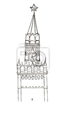 Sketch Russland Moskau Roten Platz Spasskaya Turm isoliert