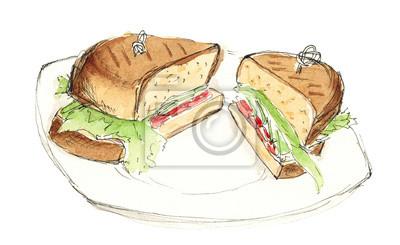 Sketch-Sandwich mit Salat, Tomaten und Lachs isoliert