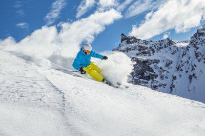 Poster Skifahrer Ski-Abfahrt im Hochgebirge