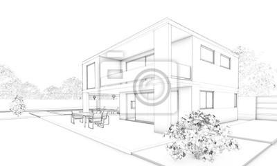 Poster Skizze Der Modernen Villa Mit Terrasse Und Garten