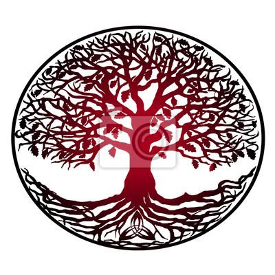 Skizze Der Tätowierung Baum Des Lebens Rote Steigung Baum