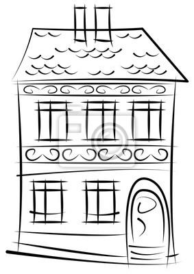 Skizze des alten Hauses auf weißem Hintergrund