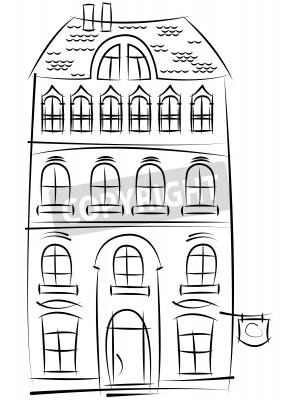 Skizze des alten Hauses isoliert auf weißem Hintergrund