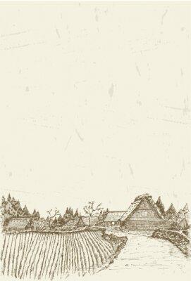 Poster Skizze des Welterbe-Dorfes Shirakawa-go in Japan