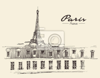 Skizze Eiffelturm Paris, Vektor-Illustration.