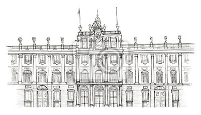 Skizze Hand gezeichnet Madrid Spanien Palacio Real isoliert