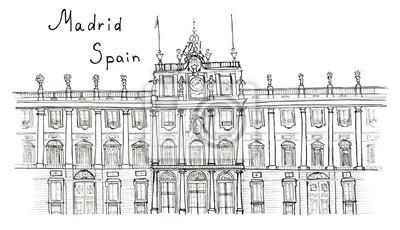 Skizze Hand gezeichnet Madrid Spanien Palacio Real mit Beschriftung isoliert
