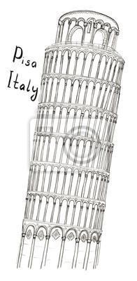 Skizze lehnt Turm von Pisa Italien mit Schriftzug isoliert