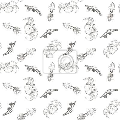 Skizze nahtlose Muster mit Meeresfrüchten - rote Krabben, Garnelen und Tintenfisch auf weißem Hintergrund