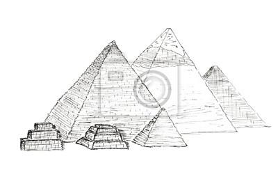 Skizze Pyramiden von Gizeh, Ägypten isoliert