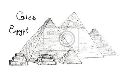 Skizze Pyramiden von Gizeh, Ägypten Schriftzug isoliert