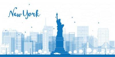 Poster Skizzieren Sie New York City Skyline mit Wolkenkratzern