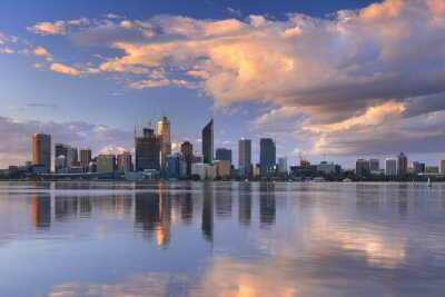 Poster Skyline of Perth, Australia across the Swan River at sunset