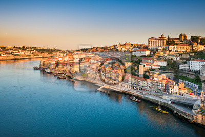 Skyline of Porto, Portugal at sunrise