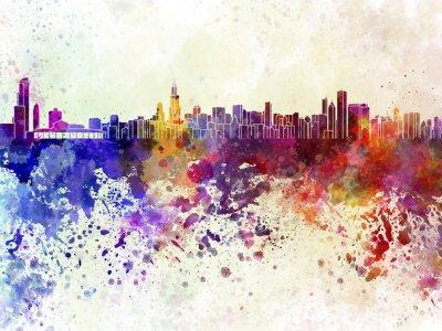 Poster Skyline von Chicago in Aquarell-Hintergrund