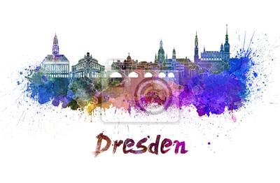 Skyline von Dresden im Aquarell
