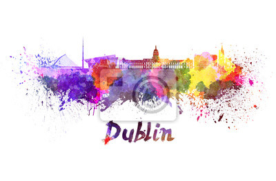 Skyline von Dublin in Aquarell