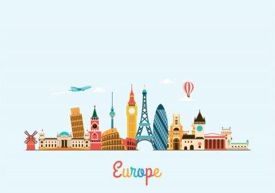 Poster Skyline von Europa. Reisen und Tourismus Hintergrund.