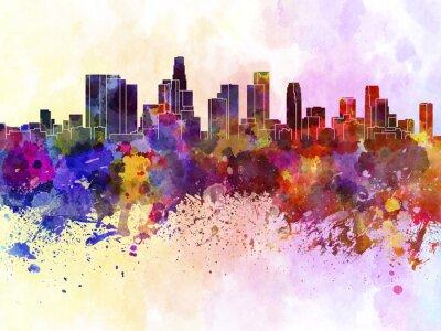 Poster Skyline von Los Angeles in Aquarell-Hintergrund
