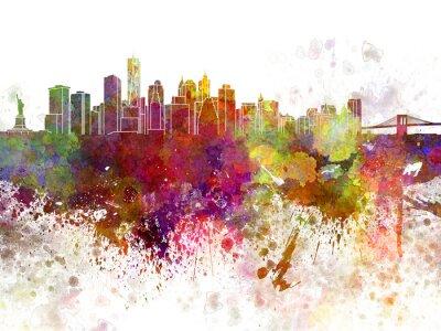 Poster Skyline von New York v2 in Aquarell Hintergrund