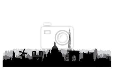 Skyline von Paris Pariser Stadtbild mit berühmten Wahrzeichen und Gebäuden. Reise Frankreich Hintergrund