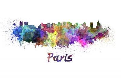 Poster Skyline von Paris V2 im Aquarell