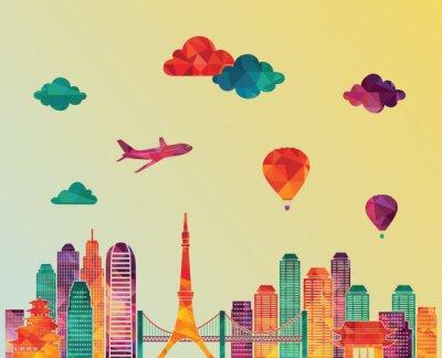 Poster Skyline von Tokio. Abbildung