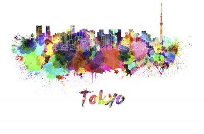 Poster Skyline von Tokio V2 im Aquarell