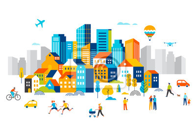 Poster Smart city, landscape city centre with many building, airplane is flying in the sky and people walking, running in park.