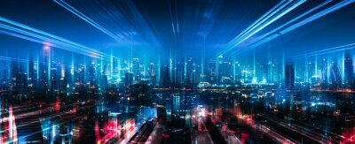 Poster Smart Network and Connection city of Bangkok Thailand at night