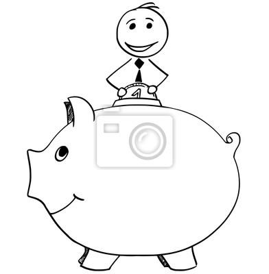 Smiling Geschäftsmann Einfügen Münze In Piggy Bank Wandposter