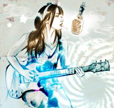 Poster Smoking. Gitarrist. Eine Hand gezeichnete Illustration voller Größe.