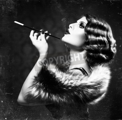 Poster Smoking Retro Woman  Vintage Styled Black and White Photo