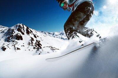 Poster Snowboarder gehen bergab