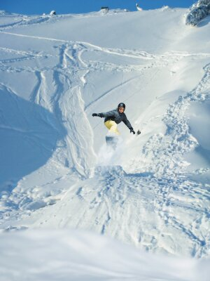 Poster Snowboarding. Berg-Skifahrer springt. Viele copy