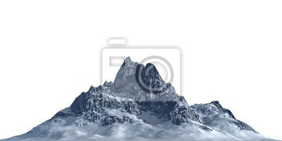Poster Snowy mountains Isolate on white background 3d illustration