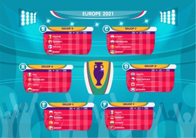 Poster Soccer European championship 2021. soccer playing field with strategy elements. set of infographic elements. Vector illustration.