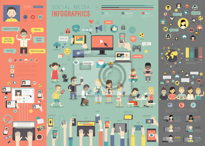 Poster Social Media Infographic set with charts and other elements.