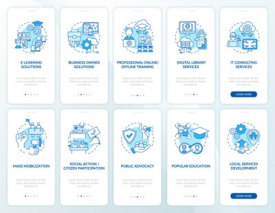 Poster Society evolution onboarding mobile app page screen with concepts set. Social change walkthrough 5 steps graphic instructions. UI, UX, GUI vector template with linear color illustrations