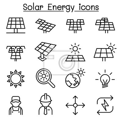Solarenergie-industrie-icon in dünnen linie stil gesetzt wandposter ...