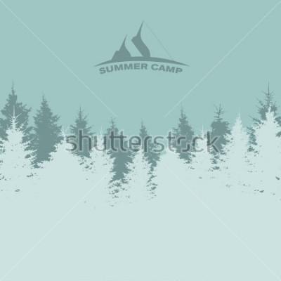 Poster Sommer Camp. Bild der Natur. Baum-Silhouette Illustration