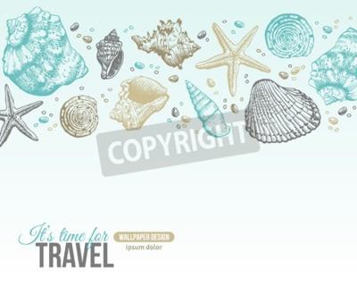 Poster Sommer-Muschel-Postkarten-Entwurf. Vector Hintergrund mit Seashells, Sea Star und Sand. Handgezeichnete Ätz-Art. Platz für Ihren Text.