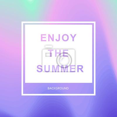 Poster Sommerhipster schicker Hintergrund mit holographischem Mesh-Layout. Schwarzer Text im Rahmen - genießen Sie den Sommer. Minimal bedruckbare Journalkreative Karte, Kunstdruck, Minimal Label Design für