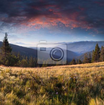 Sommerlandschaft in den Bergen. Sonnenaufgang