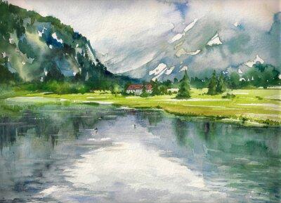 Poster Sommerlandschaft mit Bergsee gemalt mit Aquarellen
