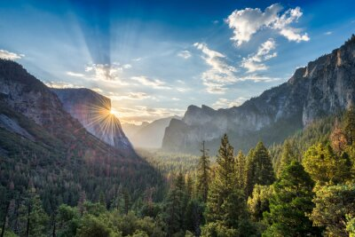 Poster Sonnenaufgang am Tunnel Ansicht Aussichtspunkt am Yosemite Nationalpark