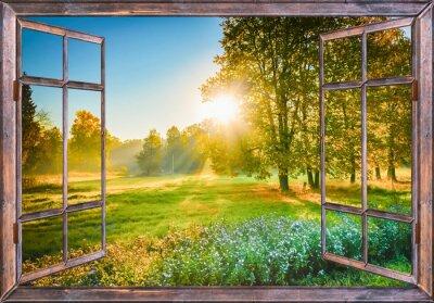 Poster Sonnenaufgang Blick aus dem Fenster