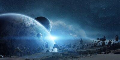 Poster Sonnenaufgang über dem Planeten Erde im Weltraum