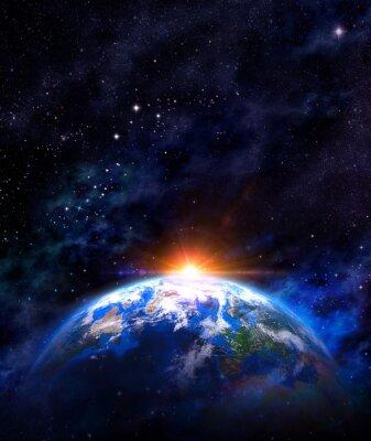 Poster Sonnenaufgang über der Erde im Weltraum